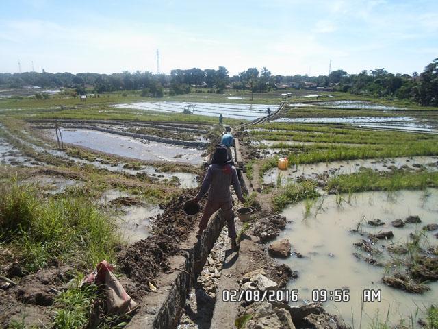 Proyek irigasi tersier (parit), Peningkatan Lening SaluranTersier di Bah Korah II, Areal Persawahan Naga Huta, Kota Pematangsiantar Provinsi Sumatera Utara.